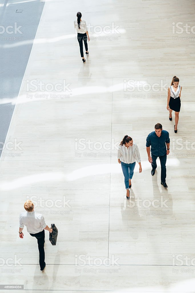 Young business people before starting work stock photo