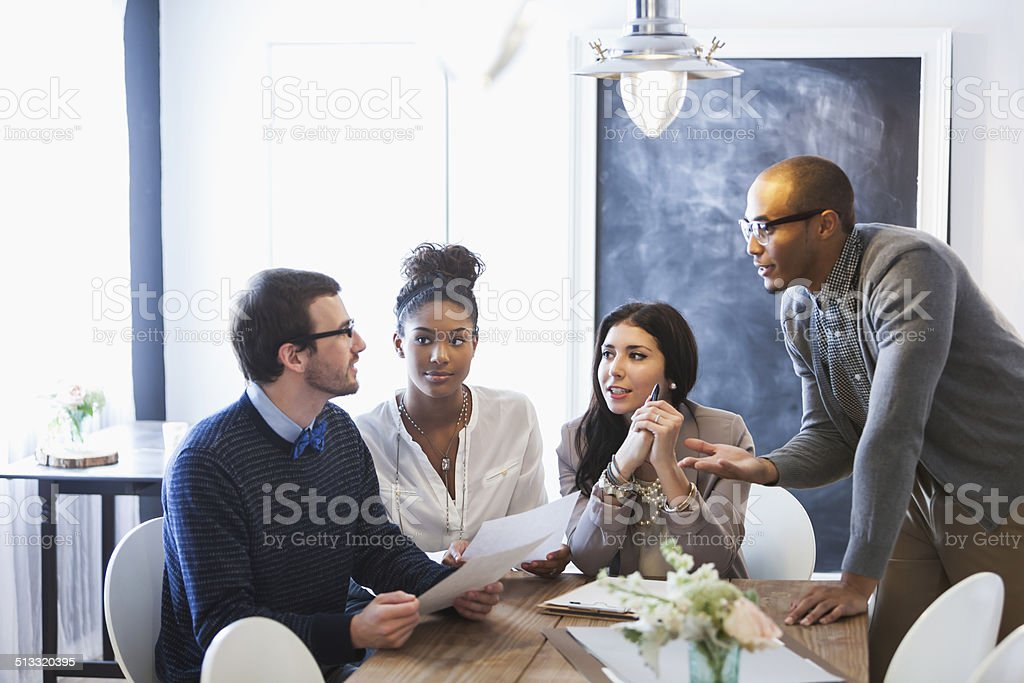 Young business people meeting stock photo
