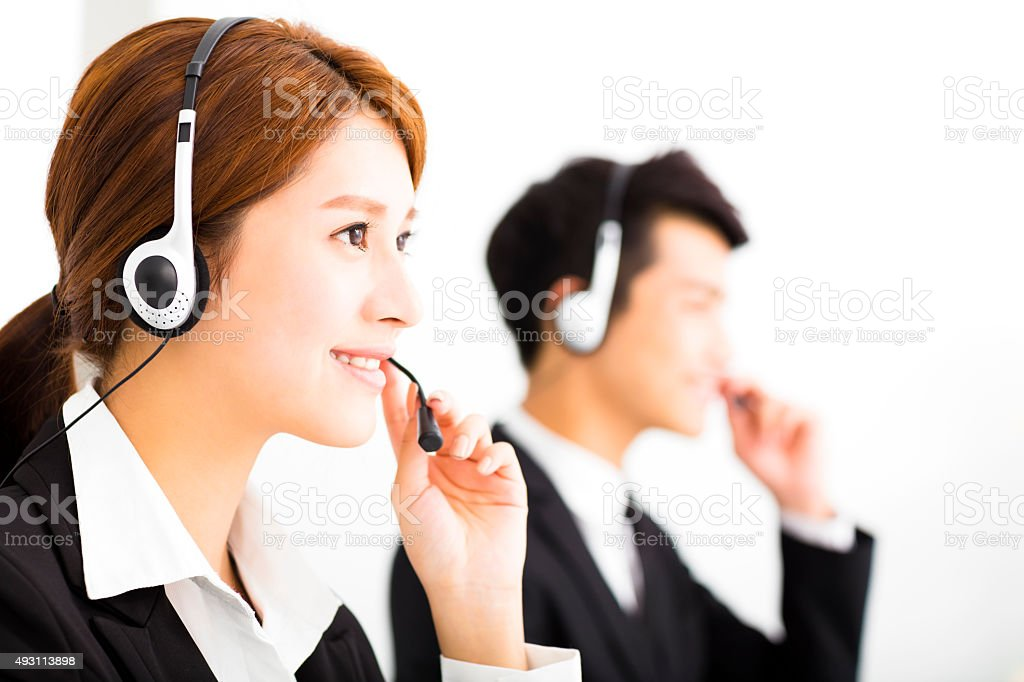 young business people working with headset in office stock photo