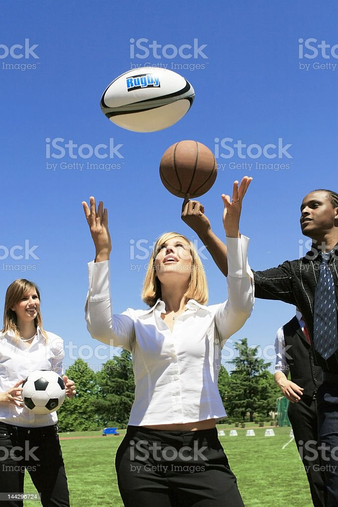 Young business team doing sport royalty-free stock photo
