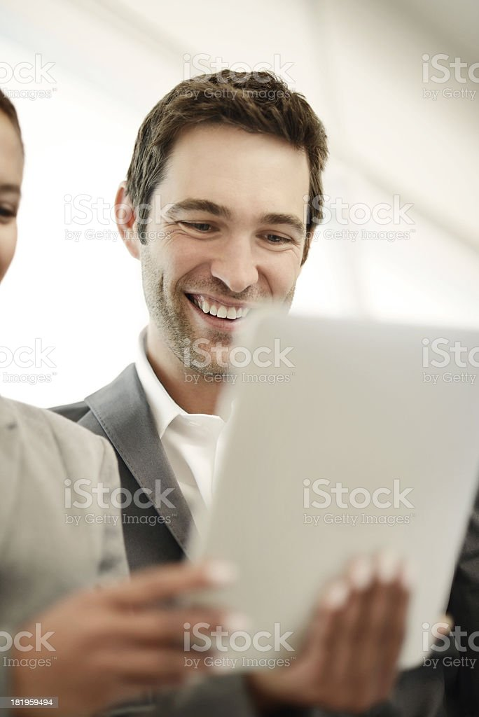 Young business team using digital tablet royalty-free stock photo