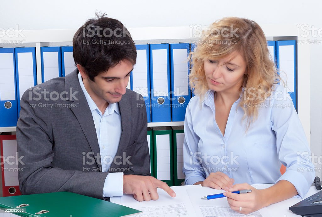 Young business team working at office stock photo