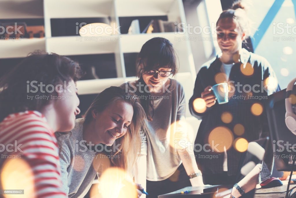 Young business team working together stock photo