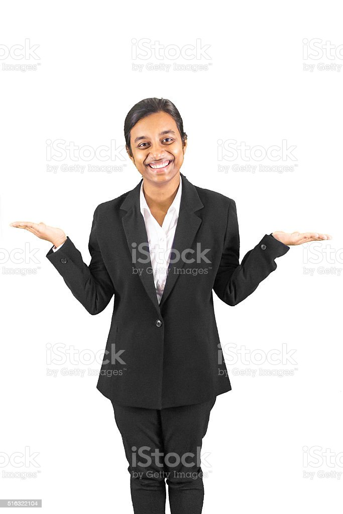 Young business woman balancing hands stock photo
