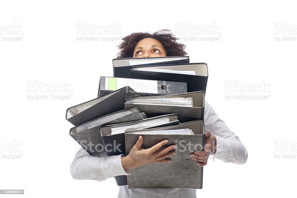 Young business woman carrying archives royalty-free stock photo