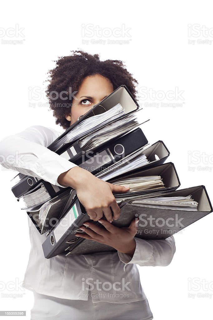 Young business woman carrying archives stock photo