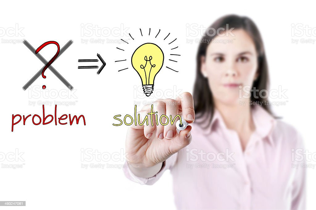 Young business woman eliminate problem and find solution. royalty-free stock photo