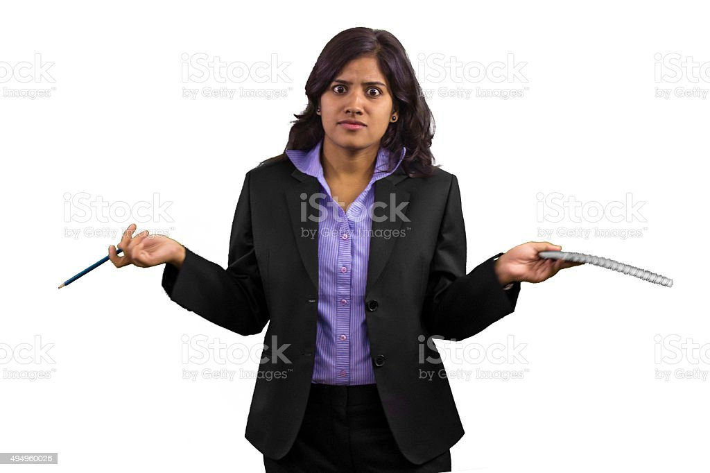 Young business woman frustrated at something. stock photo