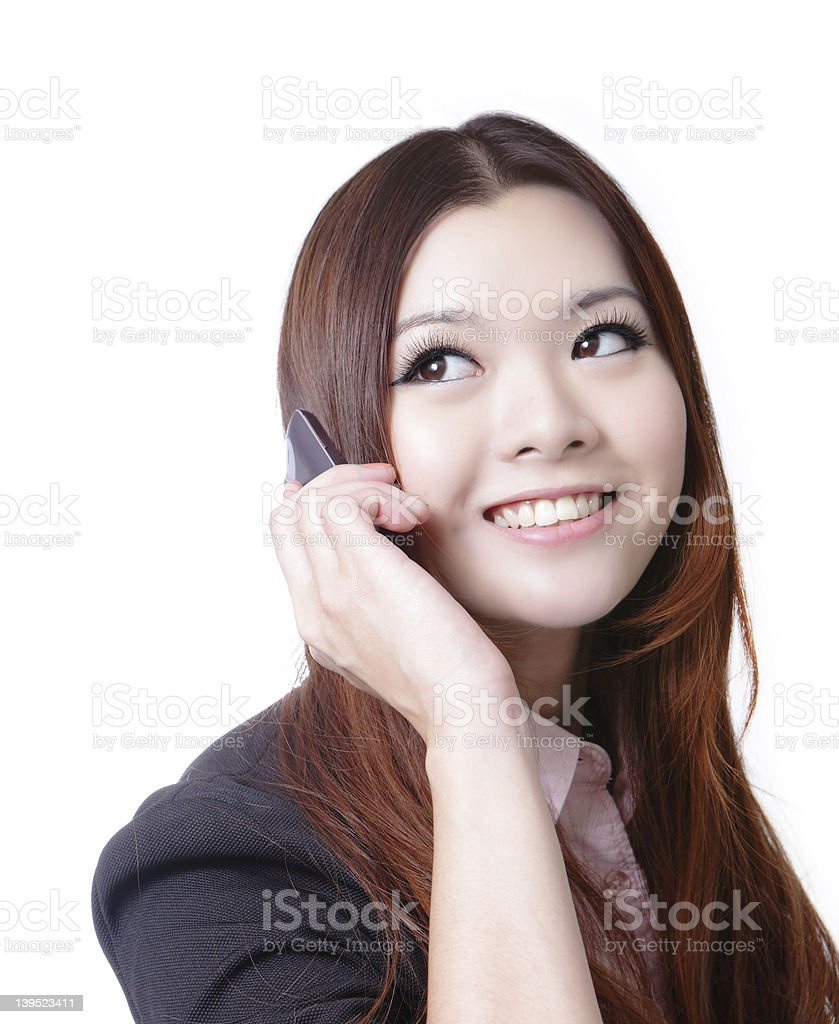 Young Business woman happy speaking mobile phone royalty-free stock photo