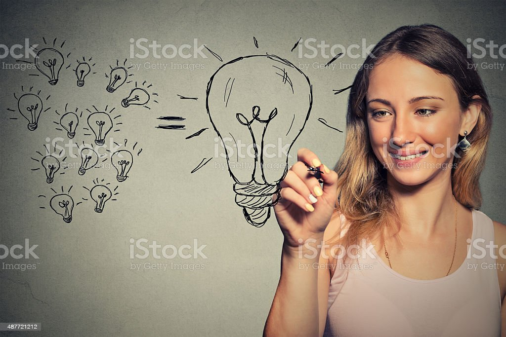 young business woman has a big idea stock photo