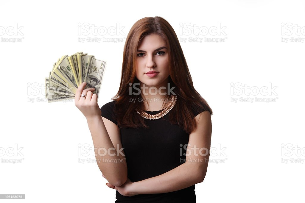 young business woman holding money royalty-free stock photo