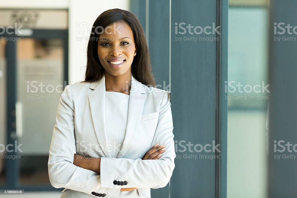 young business woman in modern office stock photo