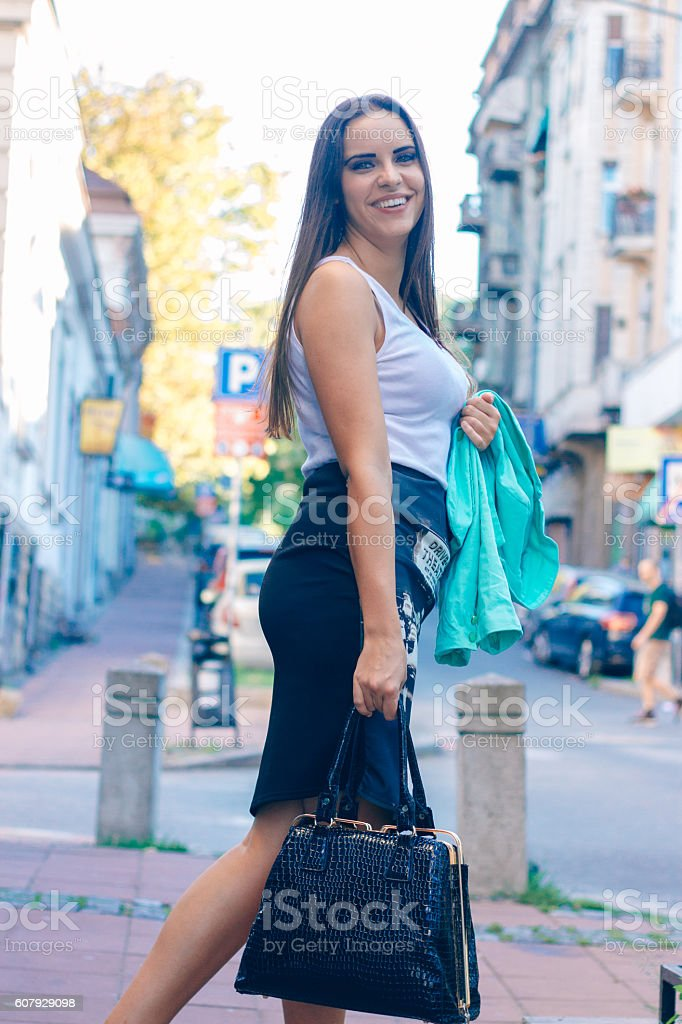 young business woman in the city stock photo