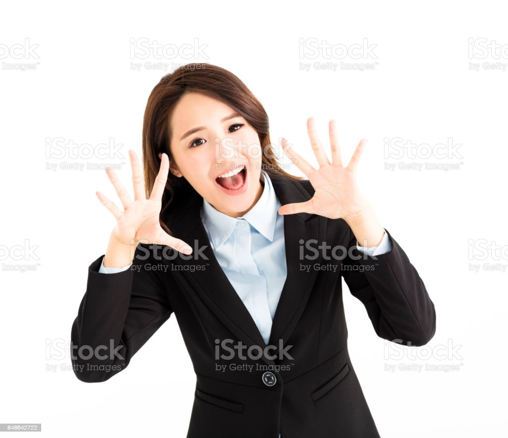 Young business woman is screaming stock photo
