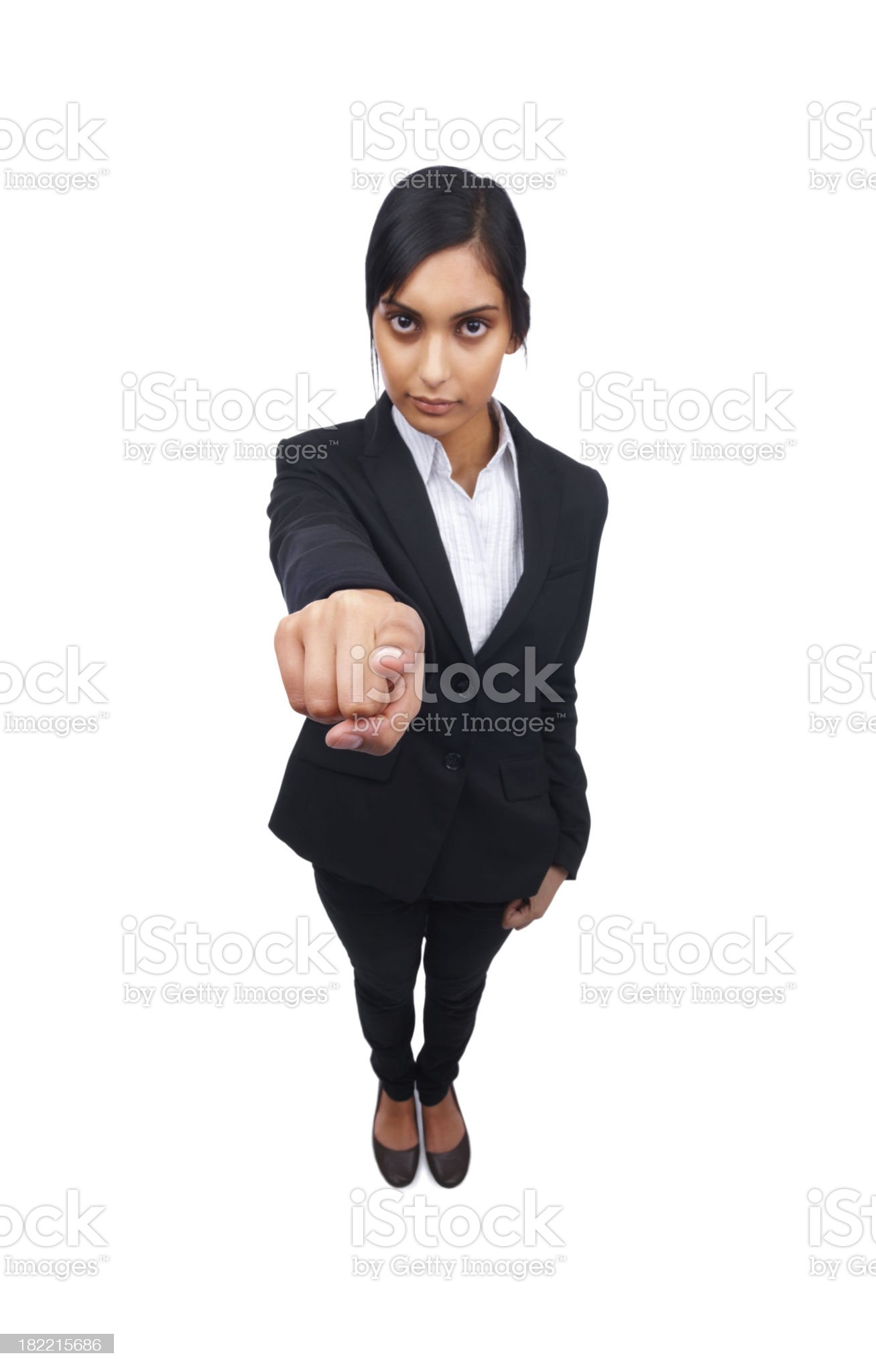 Young business woman pointing at you royalty-free stock photo