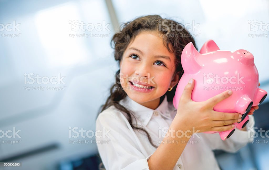 Young business woman saving stock photo