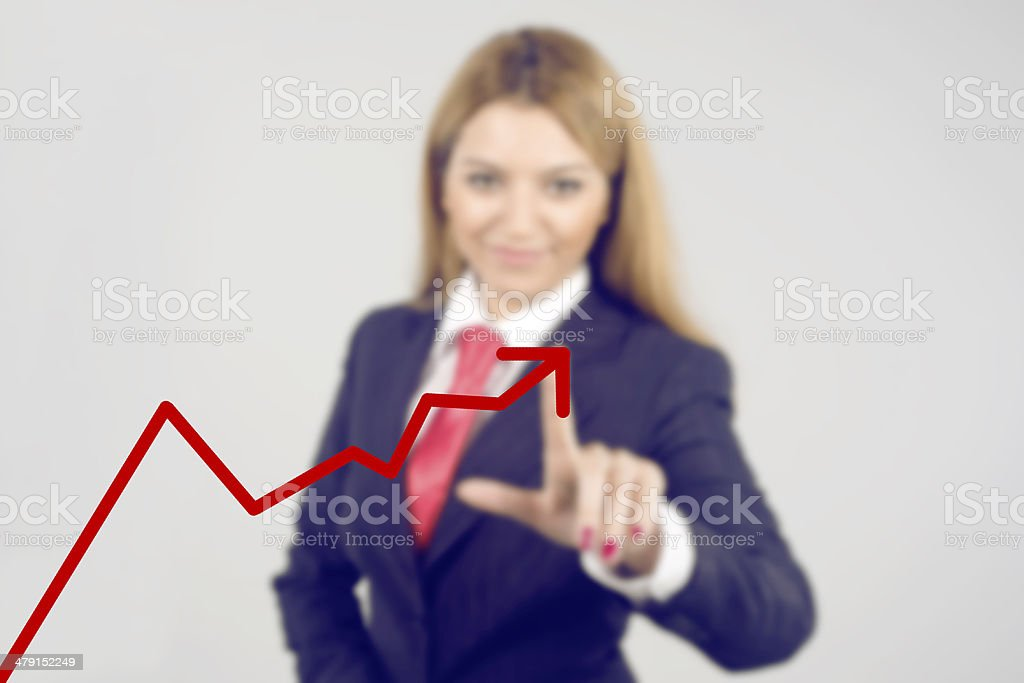 young business woman showing database structure stock photo