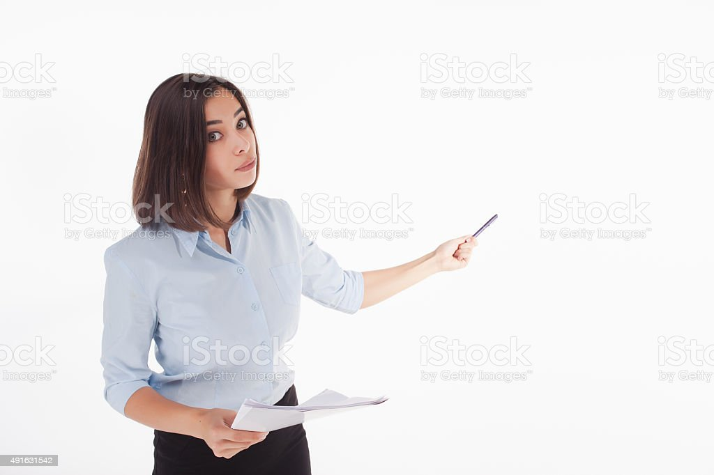 young business woman showing something on the white background stock photo