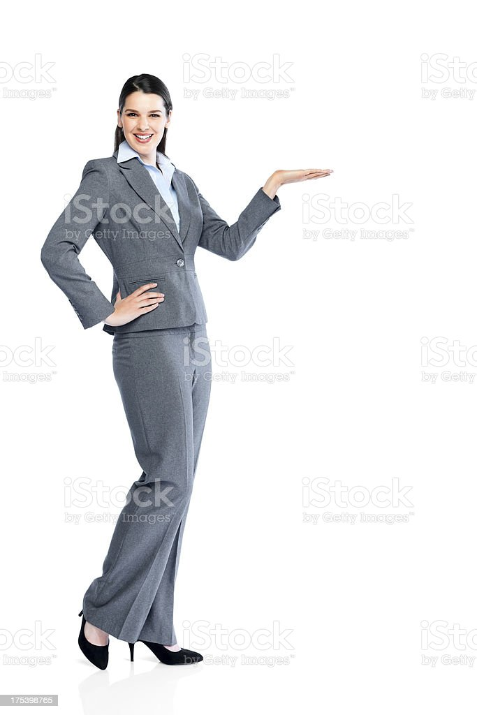 Young business woman showing your product royalty-free stock photo
