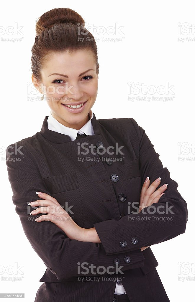 Young business woman standing with folded hand stock photo