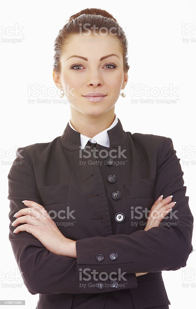 Young business woman standing with folded hand royalty-free stock photo