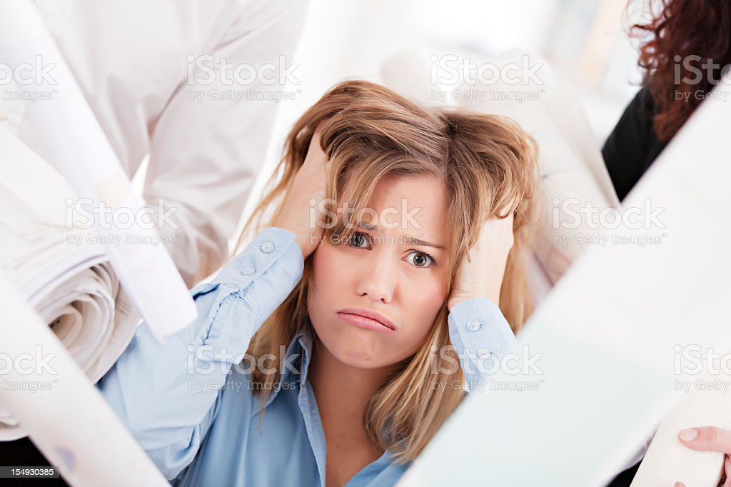 Young business woman stressed stock photo