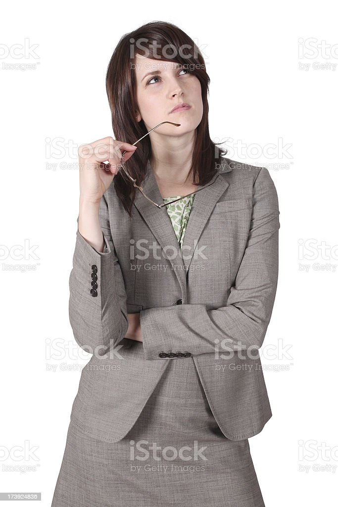 Young business woman thinking royalty-free stock photo