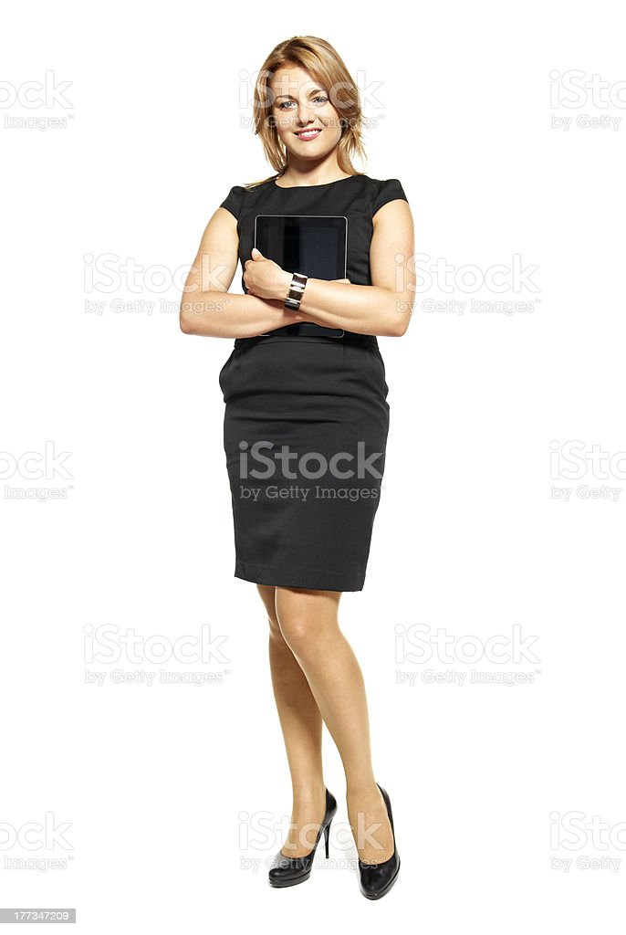 A young business woman wearing a suit stock photo