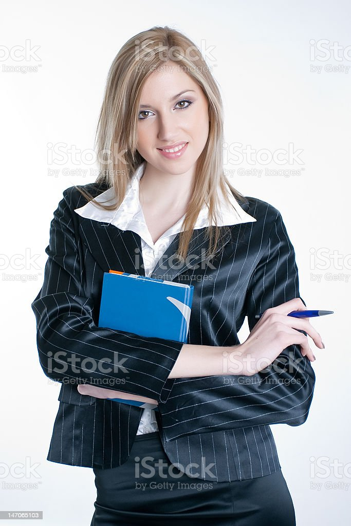 Young business woman with a book royalty-free stock photo