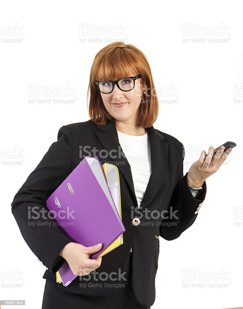 young business woman with a file folder royalty-free stock photo