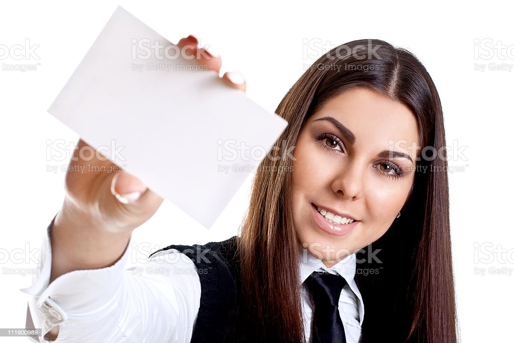 young business woman with card stock photo