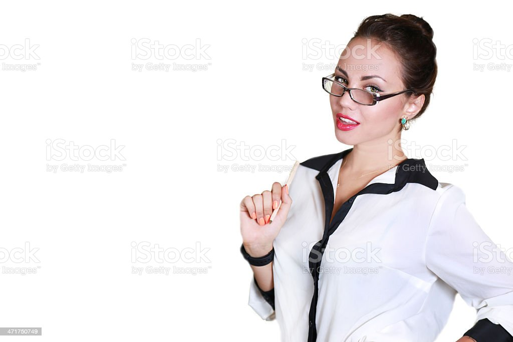 young business woman with glasses holding a pen royalty-free stock photo