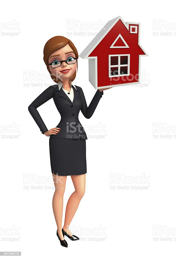 Young Business Woman with home sign royalty-free stock photo
