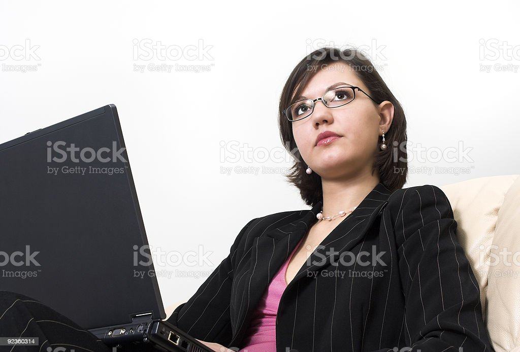 young business woman with laptop royalty-free stock photo