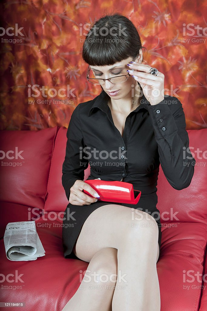 Young Business Woman with Newspaper royalty-free stock photo