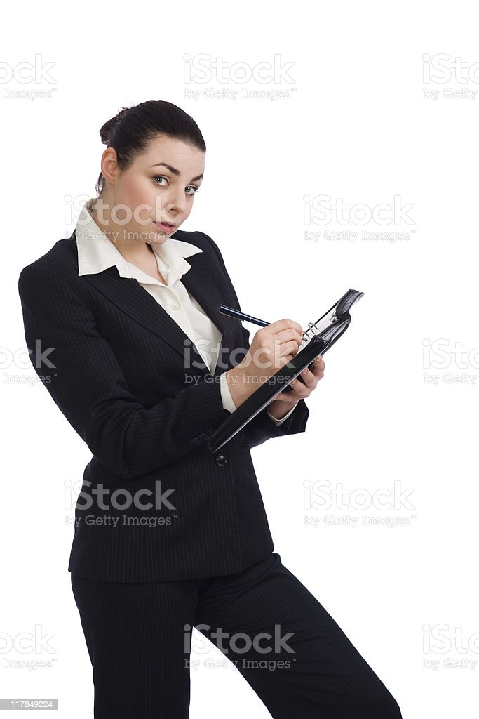 Young business woman with personal organizer stock photo