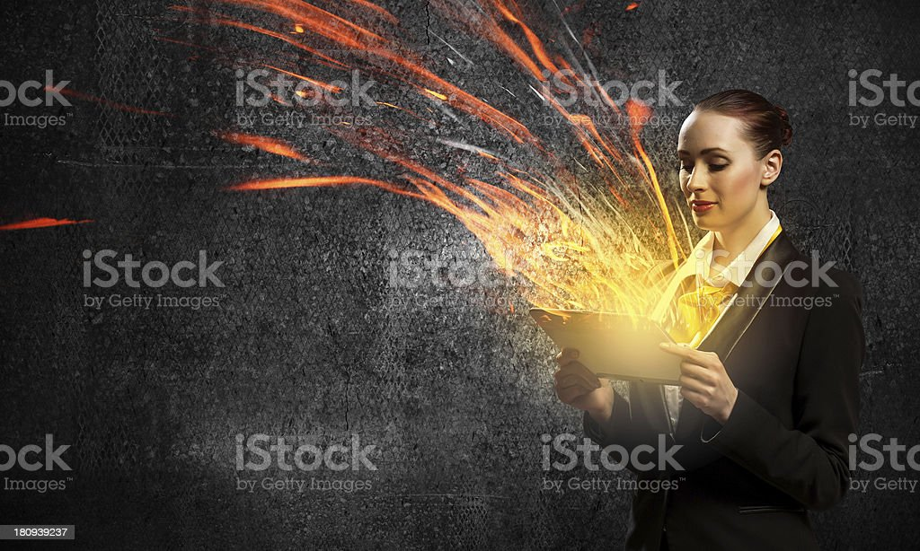 Young business woman with ipad royalty-free stock photo