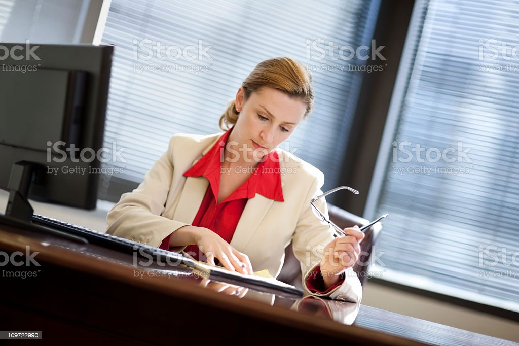 Young Business Woman Working In Office royalty-free stock photo
