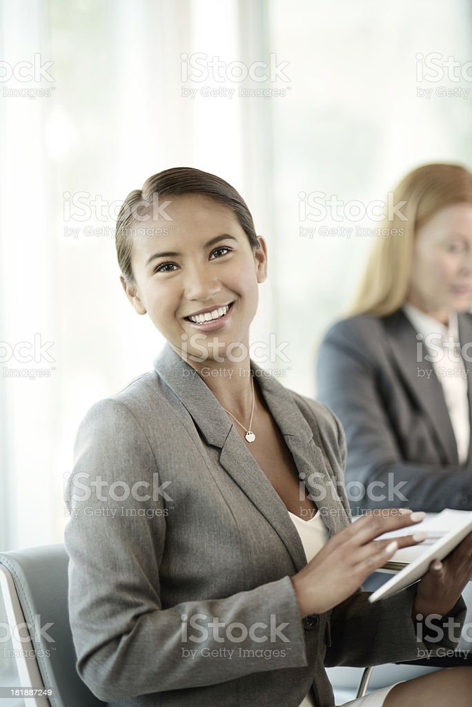 Young Business Woman Working on Digital Devices royalty-free stock photo