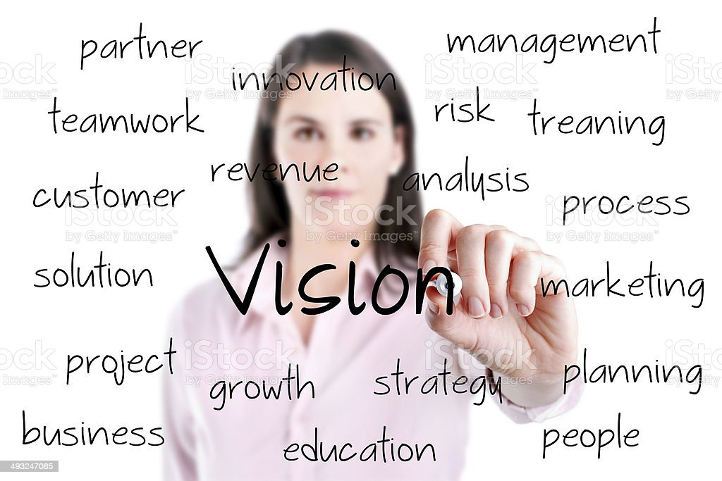 Young business woman writing concept of vision. stock photo