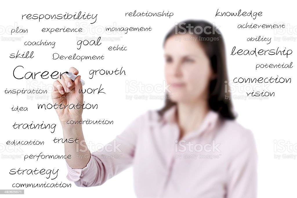 Young business woman writing on the screen. royalty-free stock photo