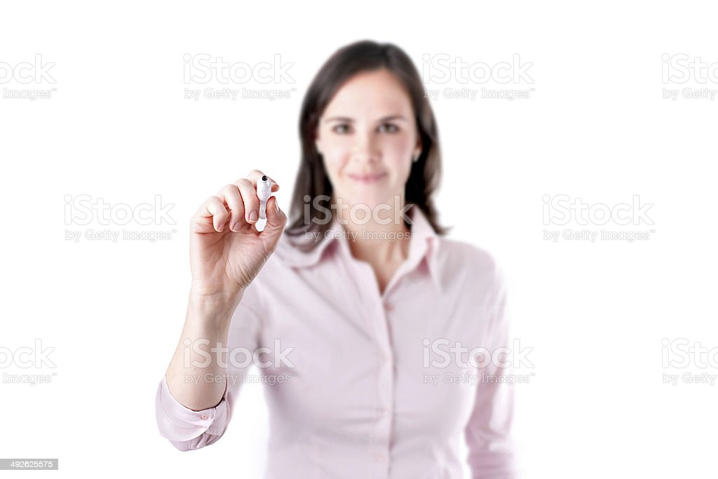 Young business woman writing something, on the screen. royalty-free stock photo