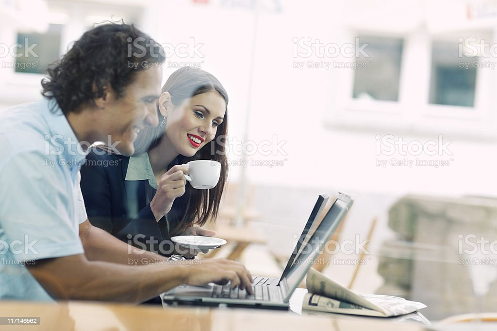 young businessman and  business woman stock photo