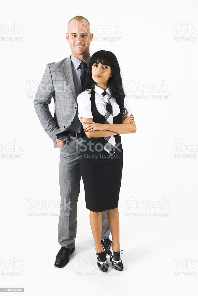 Young businessman and businesswoman standing, isolated on white - II royalty-free stock photo