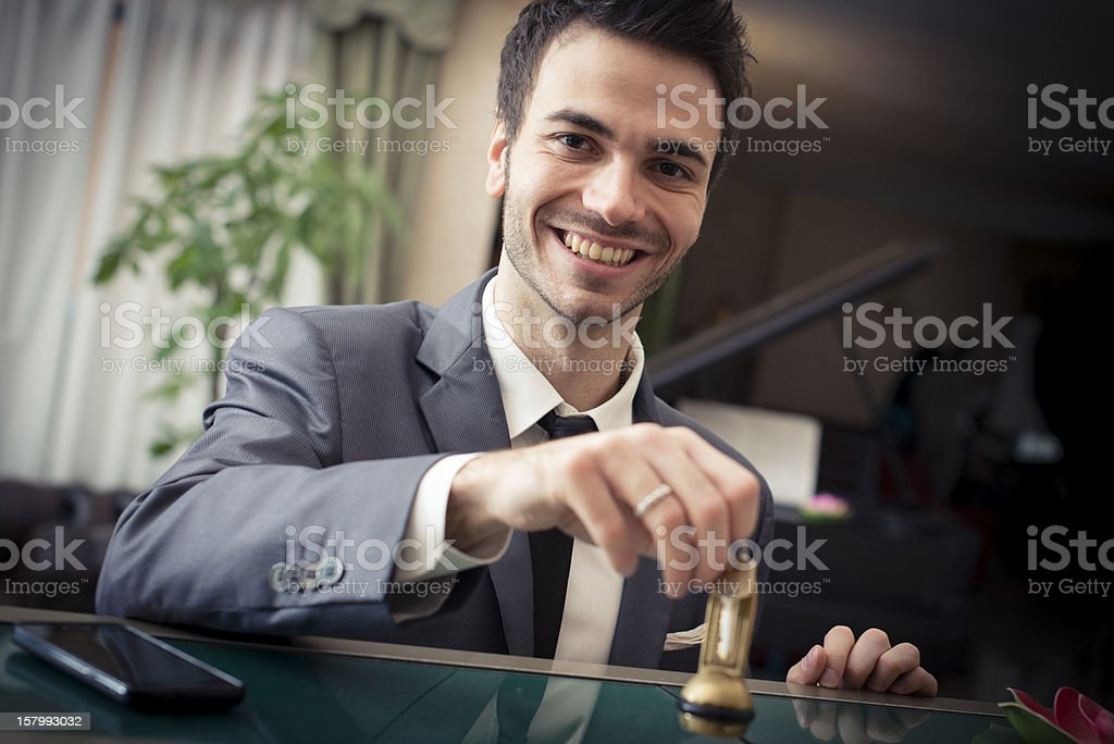 Young businessman at the hotel royalty-free stock photo