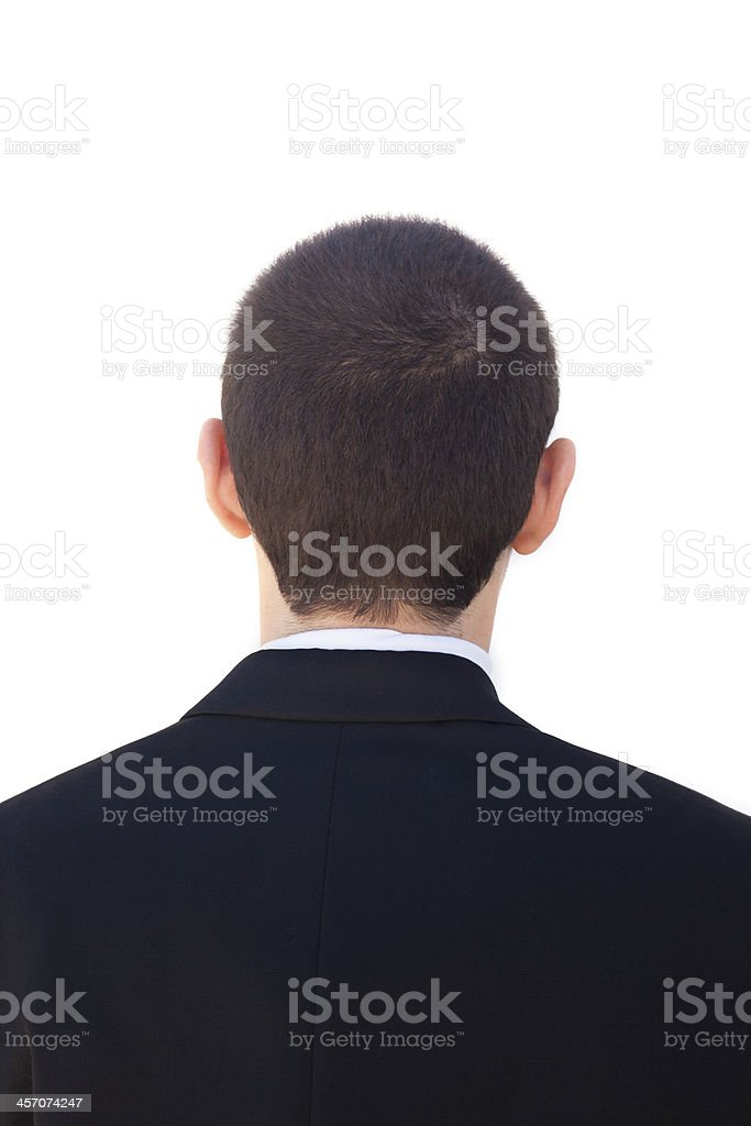 Young Businessman back of head stock photo
