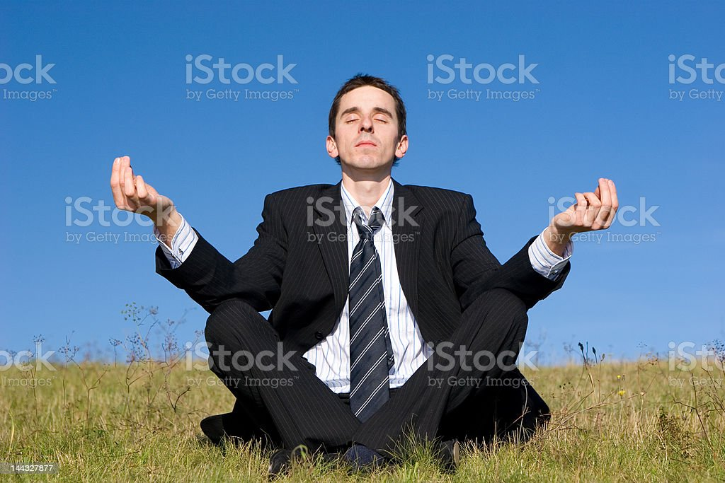 Young businessman catching balance on the meadow royalty-free stock photo