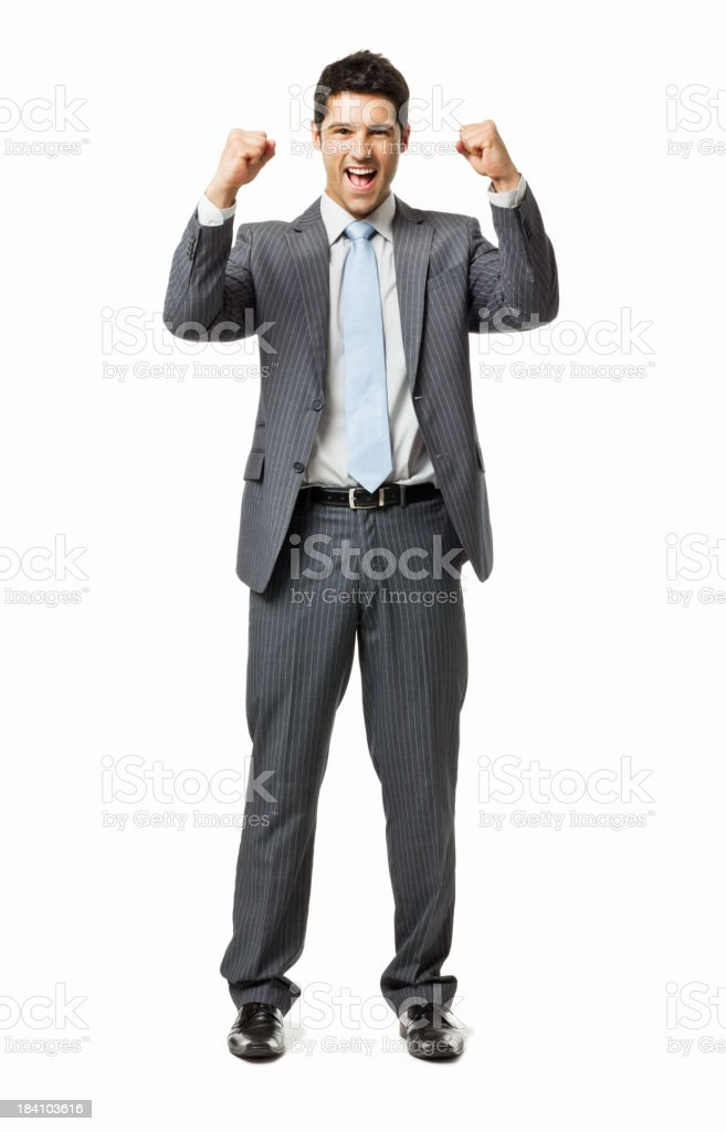 Young Businessman Cheering - Isolated royalty-free stock photo