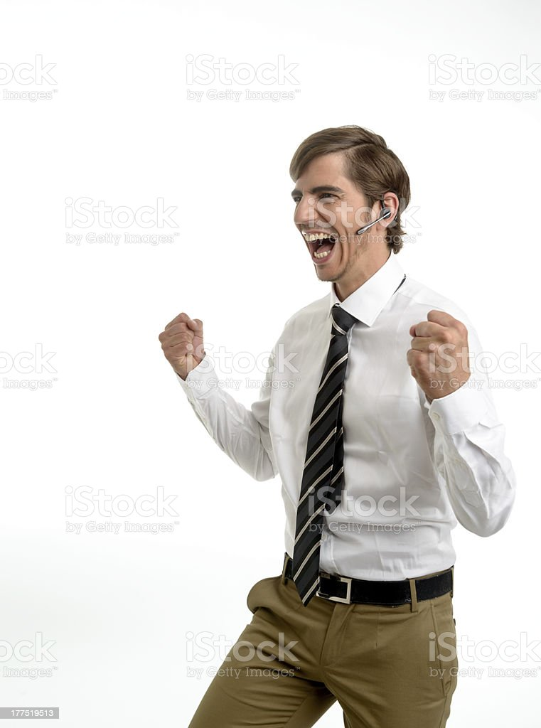 Young businessman cheering royalty-free stock photo