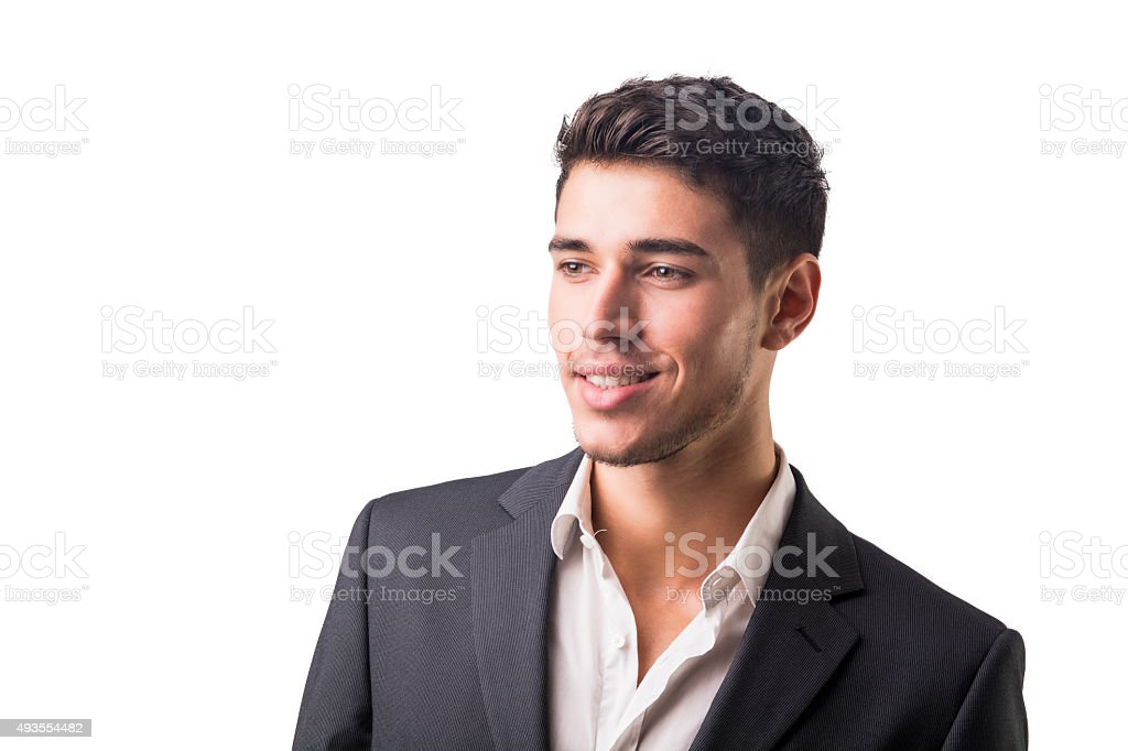Young businessman confidently posing isolated on white stock photo